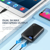 EAFU Power Banks, LED Display 10000mAh Portable Charger with Type C & Micro USB Input Power Bank, Dual 3A High-Speed Output Battery Pack Compatible with iPhone Xs X Samsung S10 Huawei Xiaomi iPad etc