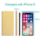 GETIHU Phone Charger 10000mAh Portable Power Bank Ultra Slim LED Flashlight Mobile External Battery Backup Thin 2 USB Ports Powerbank for iPhone X 8 7 6 Plus Android Cell Phone iPad (Gold)
