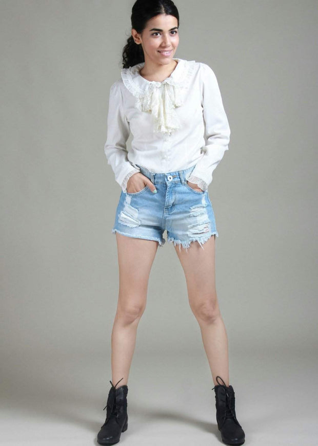 Frogged On The Roads High-Rise Distressed Denim Shorts