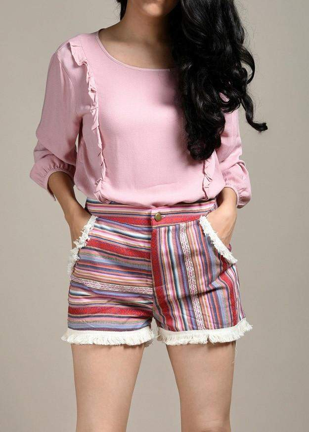 Rotter land Fuzzy Striped High-Waisted Shorts