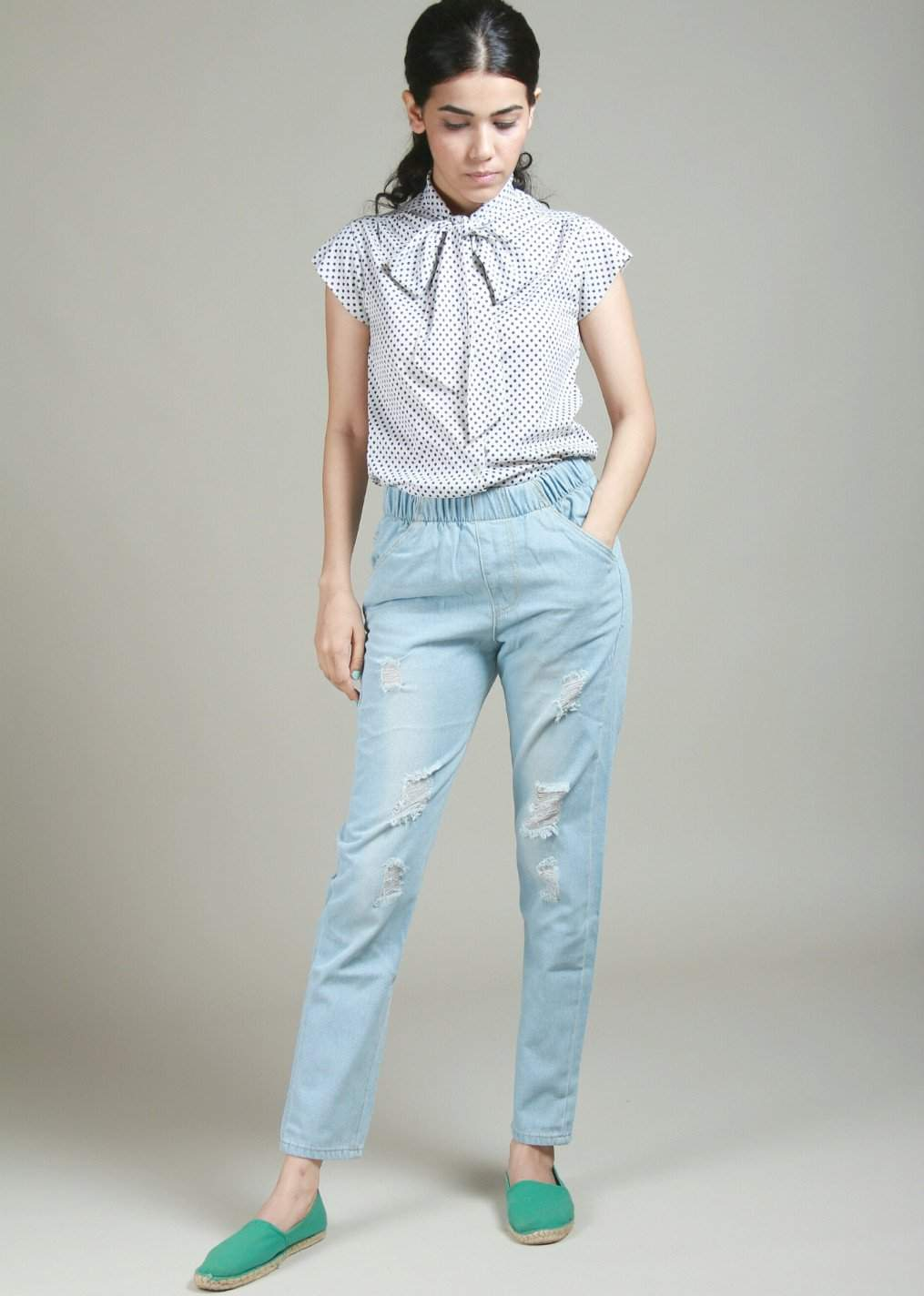 Frogged Elastic Waisted Light Blue Ripped Jeans