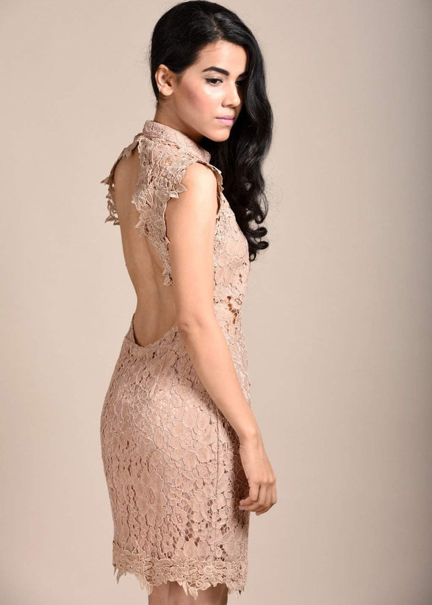 CLASSIC THREAD You Got My Back Covered Lace Dress - Peach