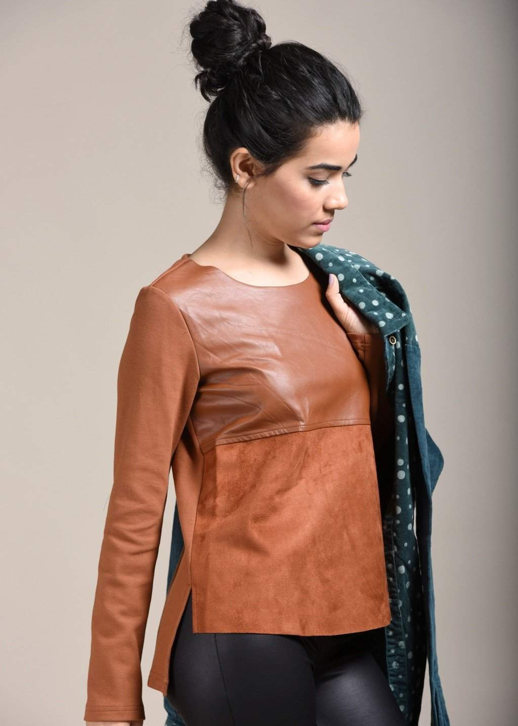 Liso Shades Of Brown Faux Suede Leather Top