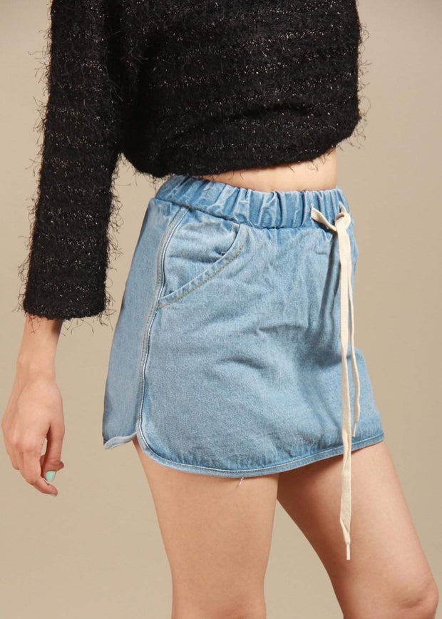 Frogged Don't Disturb The Silence Faded Denim Skirt