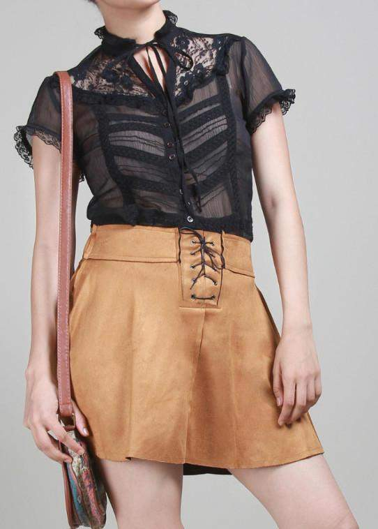 Liso Tie Me Up Suede Skater Skirt - Brown