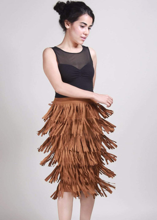 Liso Fringe With Benefits Brown Suede Skirt