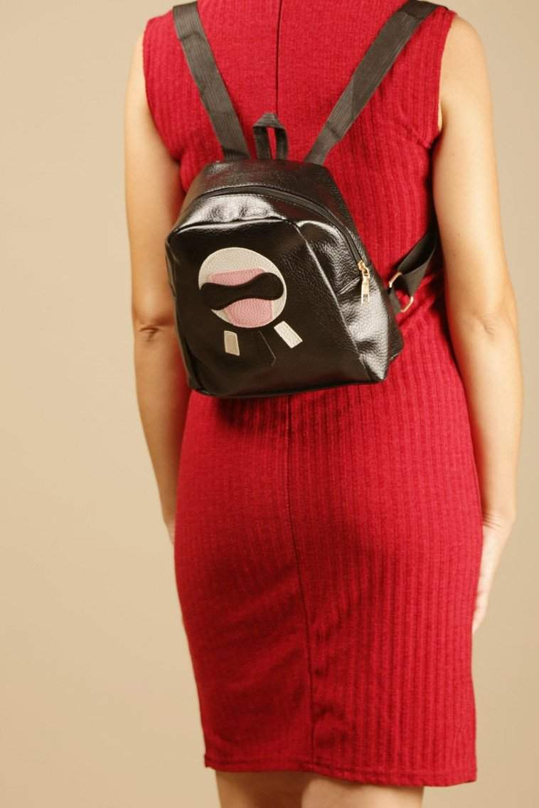 Wowed Black Zip Detail Backpack