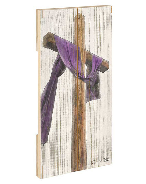 Cross draped in purple