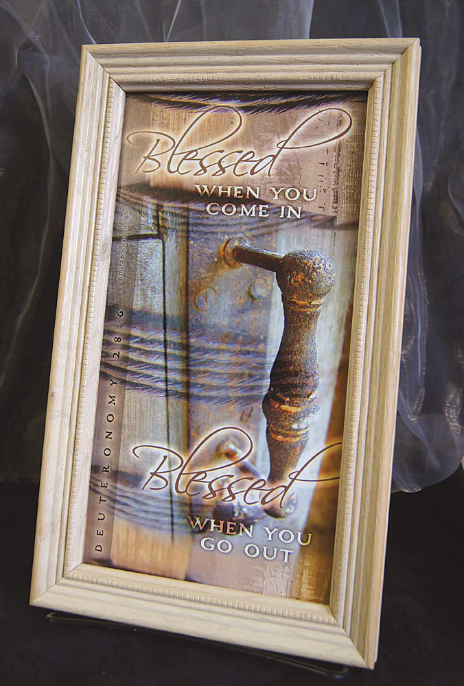 Blessed In and Out - framed 4x9