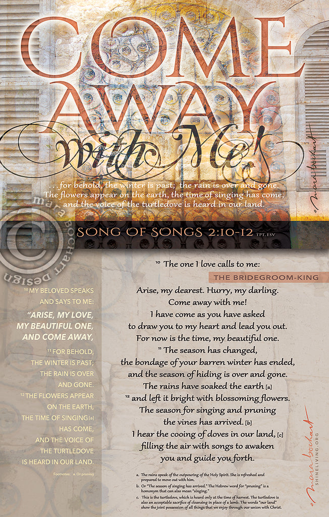 Come Away - with verses - frameable print