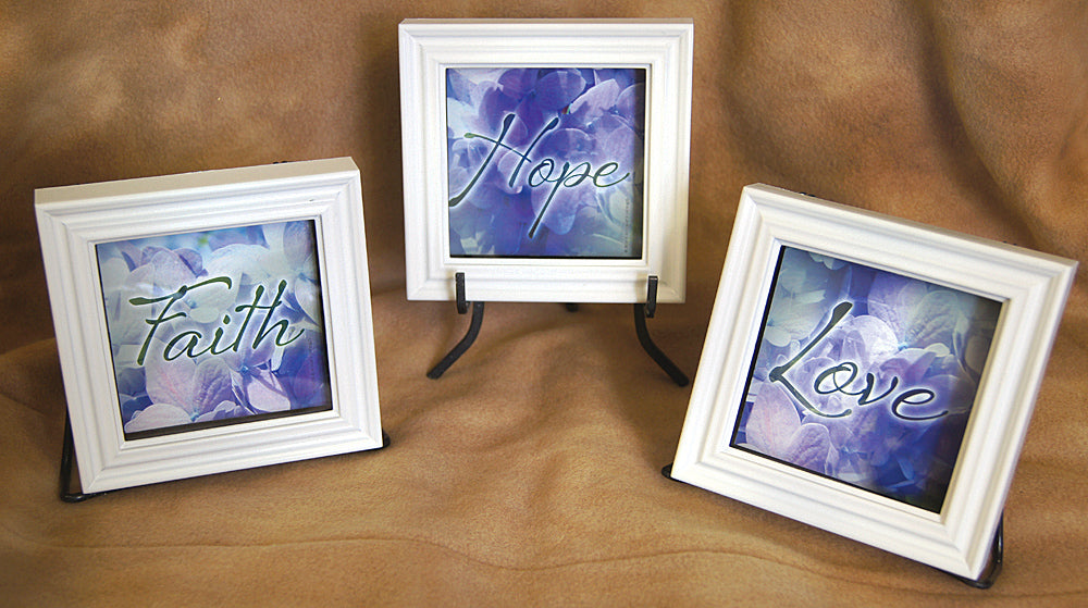 Faith Hope Love - framed set of 3