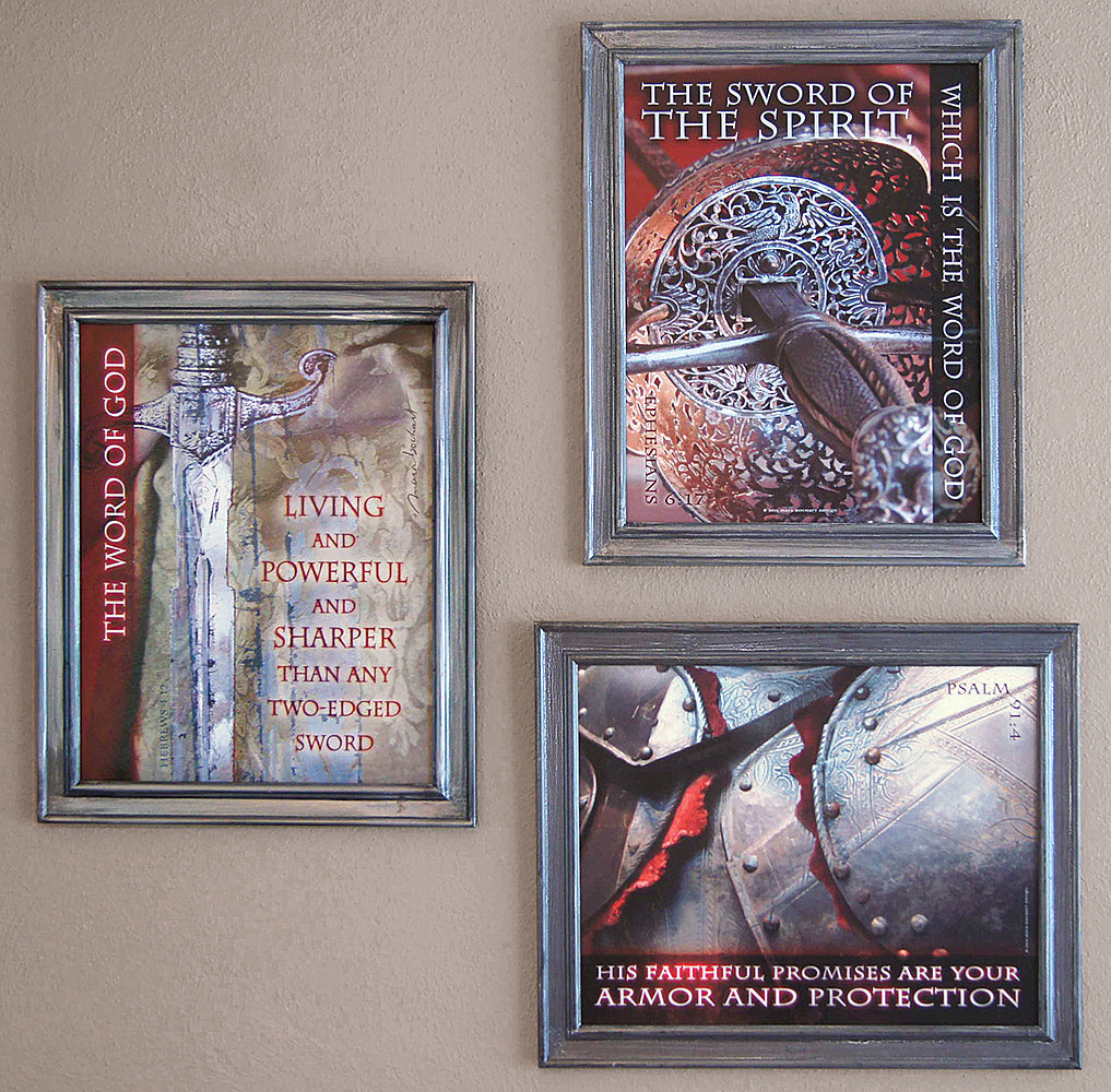 Set of (3) framed, 11x14, Sharper Than/Sword of the Spirit/Armor and Protection