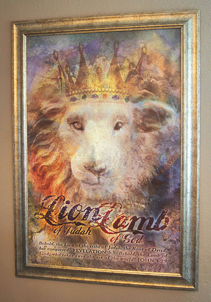 Lion Lamb - framed 24x36