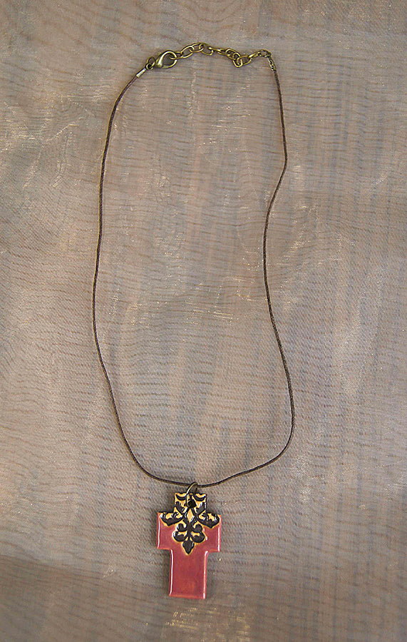 Necklace - Cross - rose