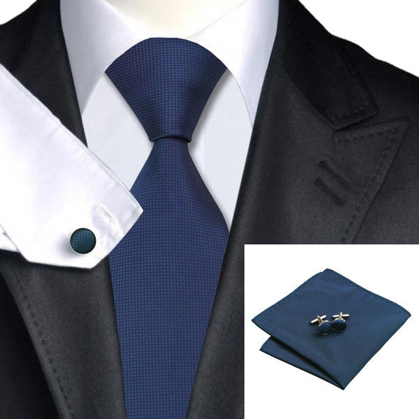 Blue Tie, Pocket Square, Cufflink Set
