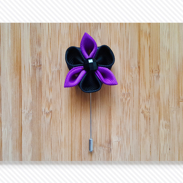 Petal Star Black Purple Lapel