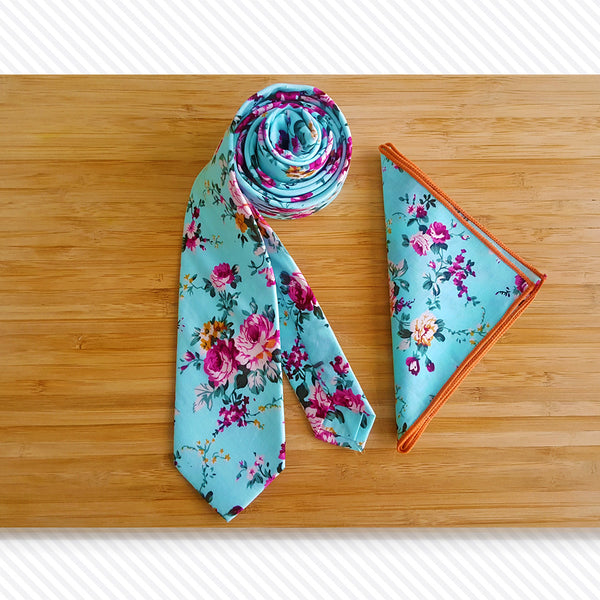 Blue Fiori Tie & Pocket Square Set