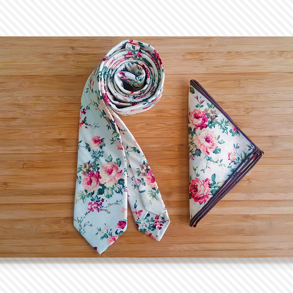 White Fiori Tie & Pocket Square Set