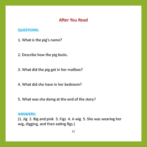 Easy for Me Children's Readers Comprehension Questions