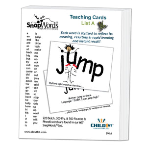 SnapWords® List A Teaching Cards Download