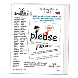 SnapWords® List E Teaching Cards Download