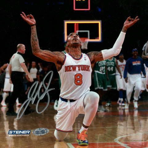 J.R. Smith Kneeling After Hitting Three Pointer At Buzzer Signed 8x8 Photo