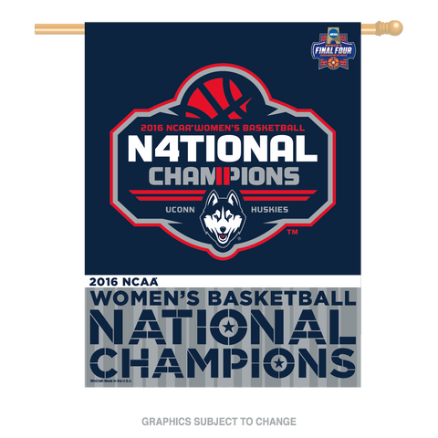 University of Connecticut 2016 Women's Basketball National Champions Vertical Flag by Wincraft