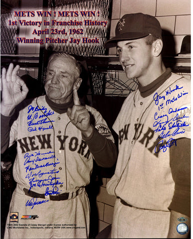 1962 New York Mets Multi Signed 16x20 Photo '1st Mets Win' inscribed by Jay Hook