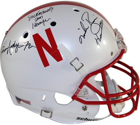 Johnny Rodgers, Mike Rozier & Eric Crouch Triple Signed Nebraska Cornhuskers Full Size Replica Schutt Helmet w/ Heisman Years Insc.
