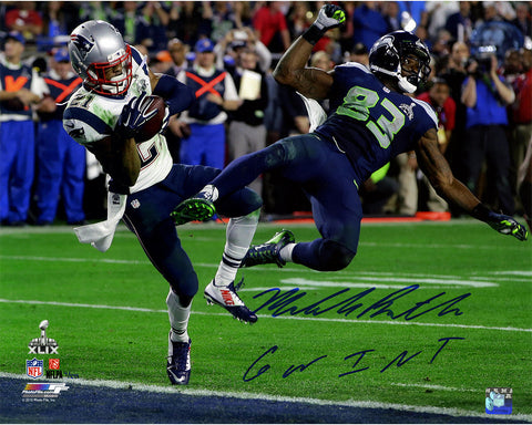 Malcolm Butler Signed Superbowl 49 INT 16x20 Photo w/ 'GW INT' Insc