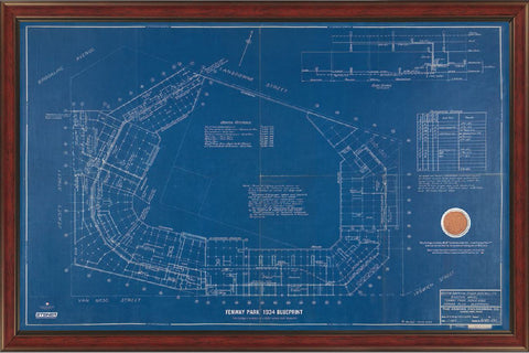 Fenway Park Additions Blue Print 1934 20x32 Framed Collage w/ Game Used Dirt