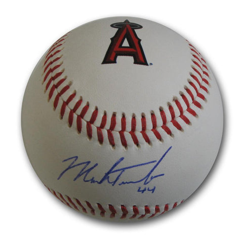 Autographed Mark Trumbo Angels logo Baseball.