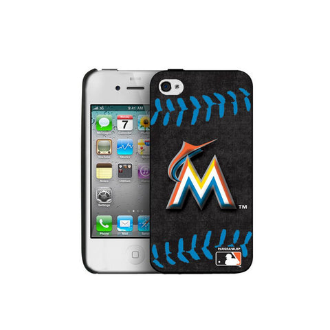Iphone 44S Hard Cover Case Blue Stitch - Miami Marlins