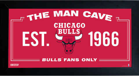 Chicago Bulls Man Cave Sign 10x20 Framed Photo
