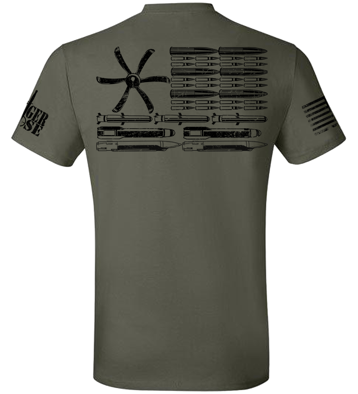 AC-130J Bullet Flag Tee - Danger Close Apparel - Military Shirts - First Responder - Patriotic - Gadsden