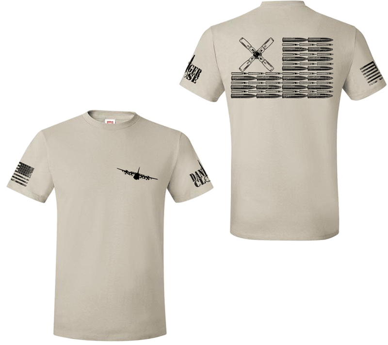 AC-130H Bullet Flag - Premium Tee - LIMITED SUPPLY - Danger Close Apparel - Military Shirts - Veteran-owned