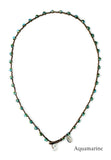 On U Jewelry - Small Bead Dot Necklace - Aquamarine