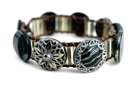 Antique Black Glass Button Bracelet