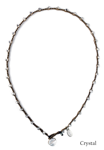 On U Jewelry - Small Bead Dot Necklace - Crystal
