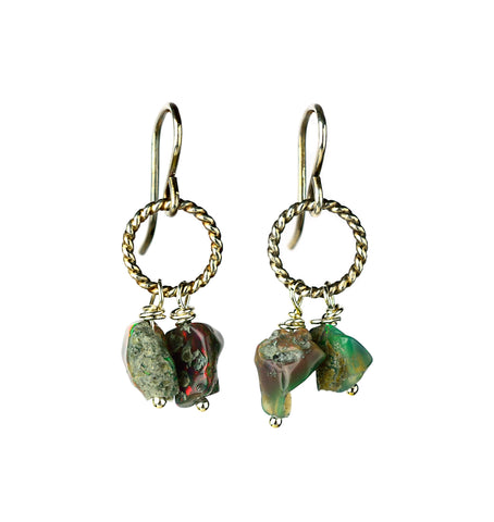 on u jewelry - Ethiopian Opal and Sterling Silver Earrings by Donna Silvestri