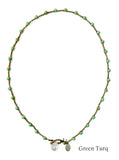 On U Jewelry - Small Bead Dot Necklace - Green Turq