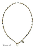 On U Jewelry - Small Bead Dot Necklace - Gunmetal
