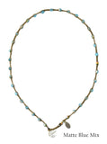 On U Jewelry - Small Bead Dot Necklace - Matte Blue Mix