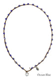 On U Jewelry - Small Bead Dot Necklace - Ocean Blue