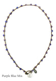 On U Jewelry - Small Bead Dot Necklace - Purple Blue Mix