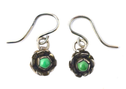 Tiny Green Turq Flower Earrings by Donna Silvestri, On U Jewelry, Richmond, Virginia