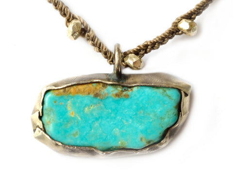 Hand-cast turquoise wrapped in sterling silver by Donna Silvestri, on u jewelry, Richmond, Virginia