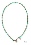 On U Jewelry - Small Bead Dot Necklace - Turq