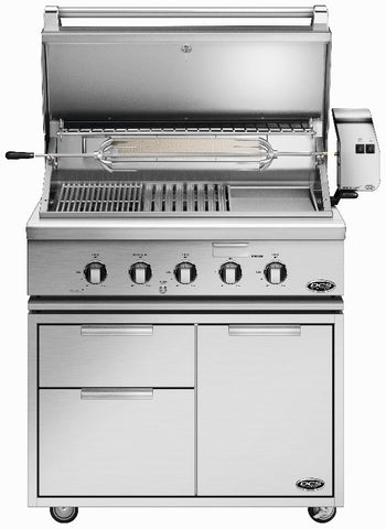 "DCS 36""  GRILL WITH ROTISSERIE, GRIDDLE AND HYBRID IR BURNER AND 36"" CAD CART - BBQing.com - 1"