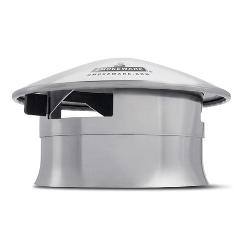 smokeware Big Green Egg Chimney Cap Damper - Stainless - BBQing.com - 1